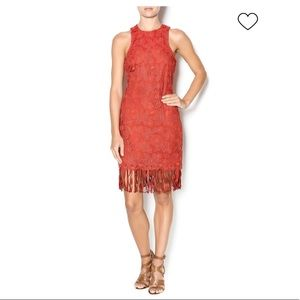 JOA Red Lace Stretch Fringe Dress XS
